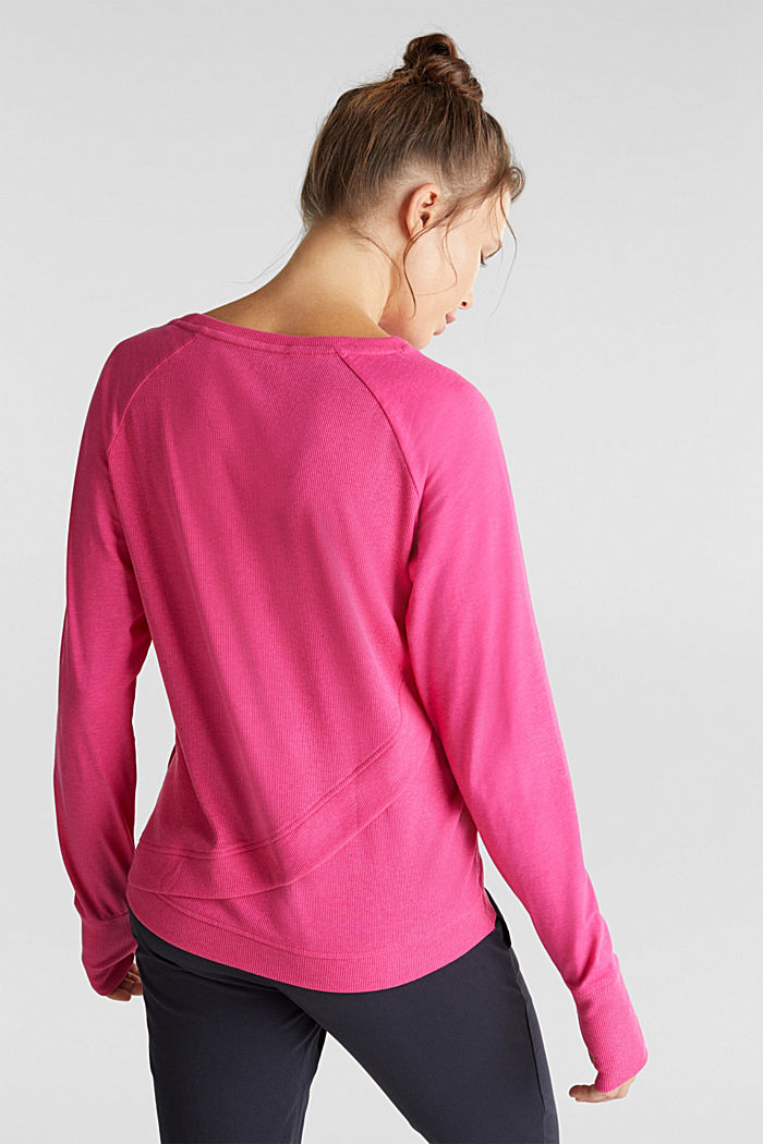 Active long sleeve top with organic cotton, PINK FUCHSIA, detail image number 3