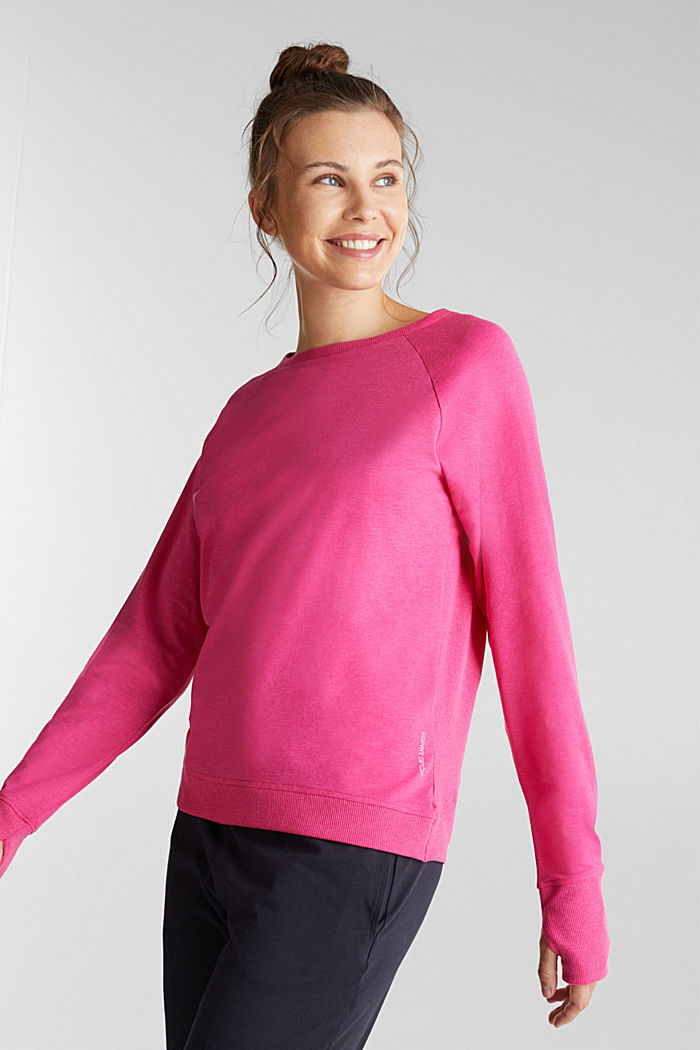 Active long sleeve top with organic cotton, PINK FUCHSIA, detail image number 5