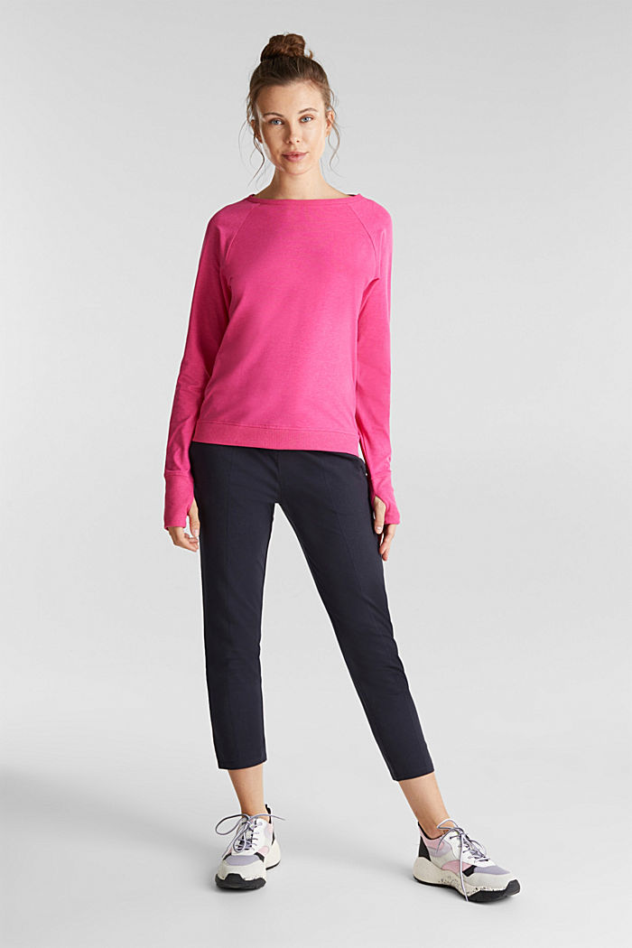Active long sleeve top with organic cotton, PINK FUCHSIA, detail image number 1