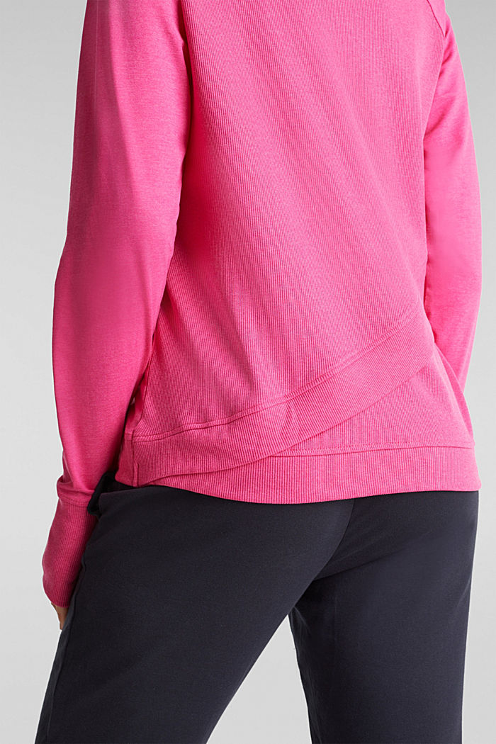 Active long sleeve top with organic cotton, PINK FUCHSIA, detail image number 2