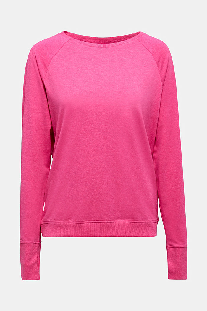 Active long sleeve top with organic cotton, PINK FUCHSIA, detail image number 6