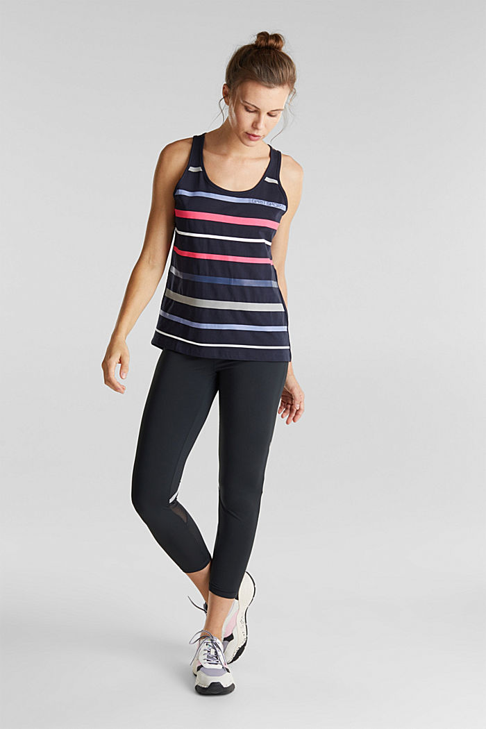 Striped sleeveless top with organic cotton, NAVY, detail image number 1