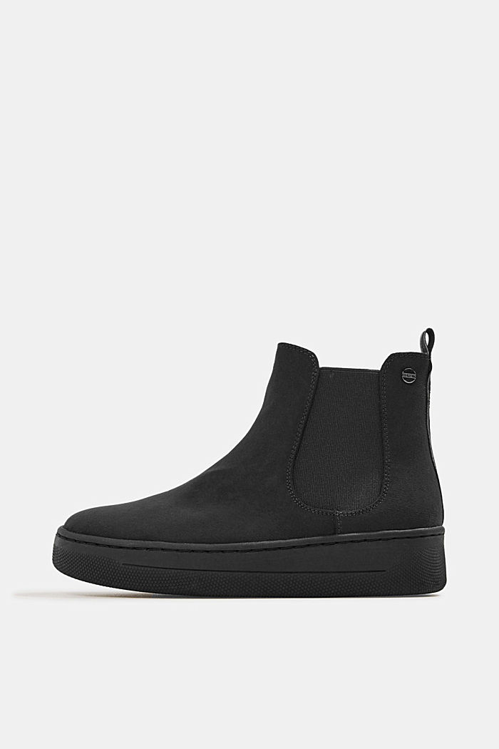 Chelsea boots in faux suede, BLACK, detail image number 0