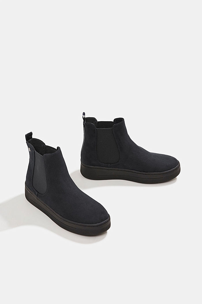 Chelsea boots in faux suede, BLACK, detail image number 6