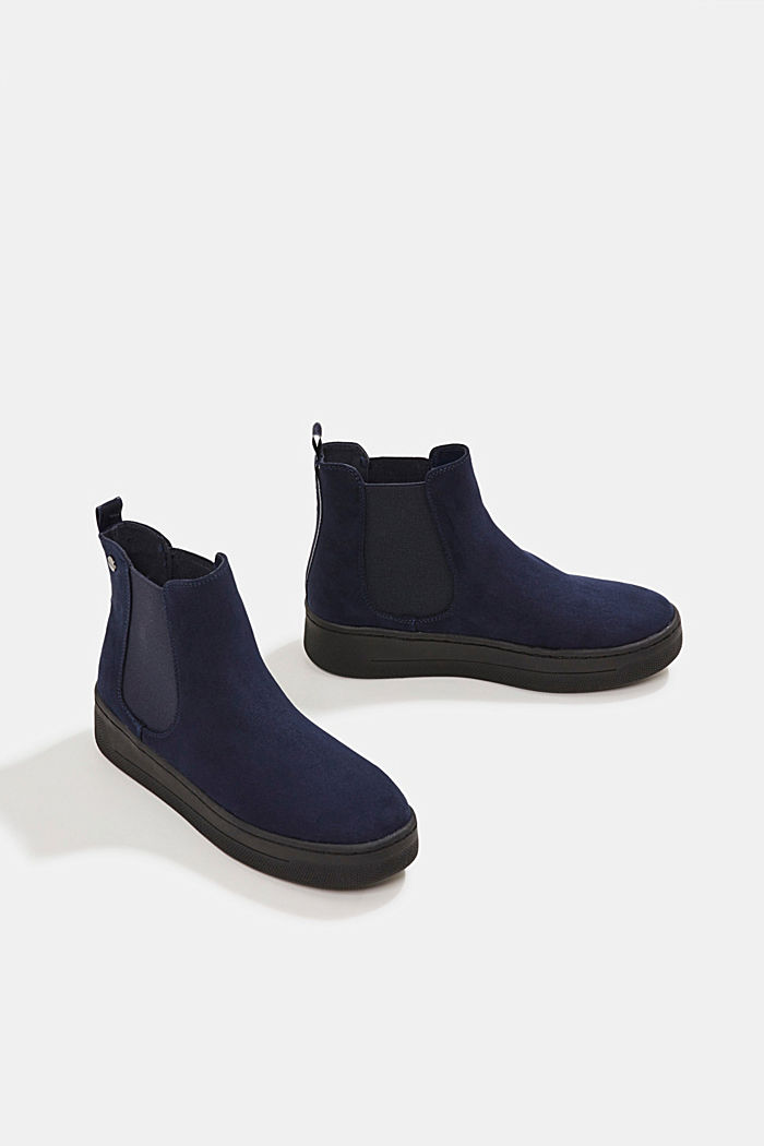 Chelsea boots in faux suede, NAVY, detail image number 6