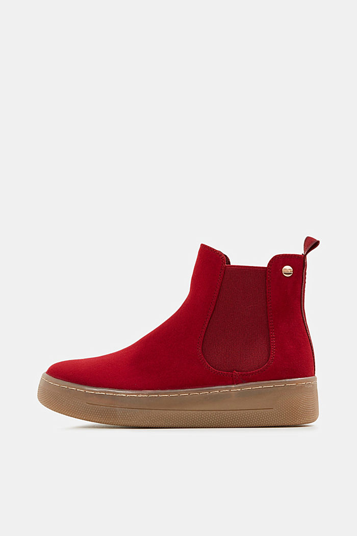 Chelsea boots in faux suede, RED, detail image number 0