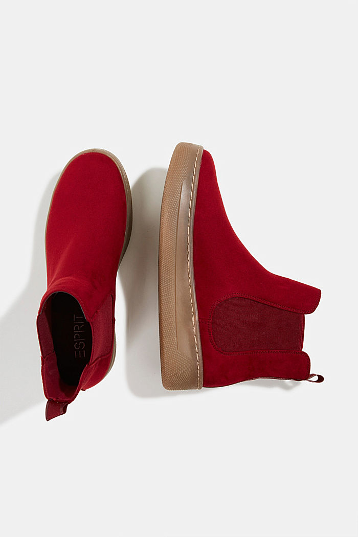 Chelsea boots in faux suede, RED, detail image number 1