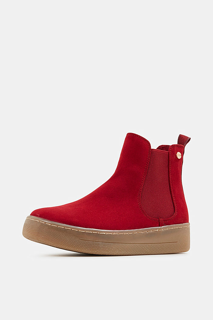 Chelsea boots in faux suede, RED, detail image number 2