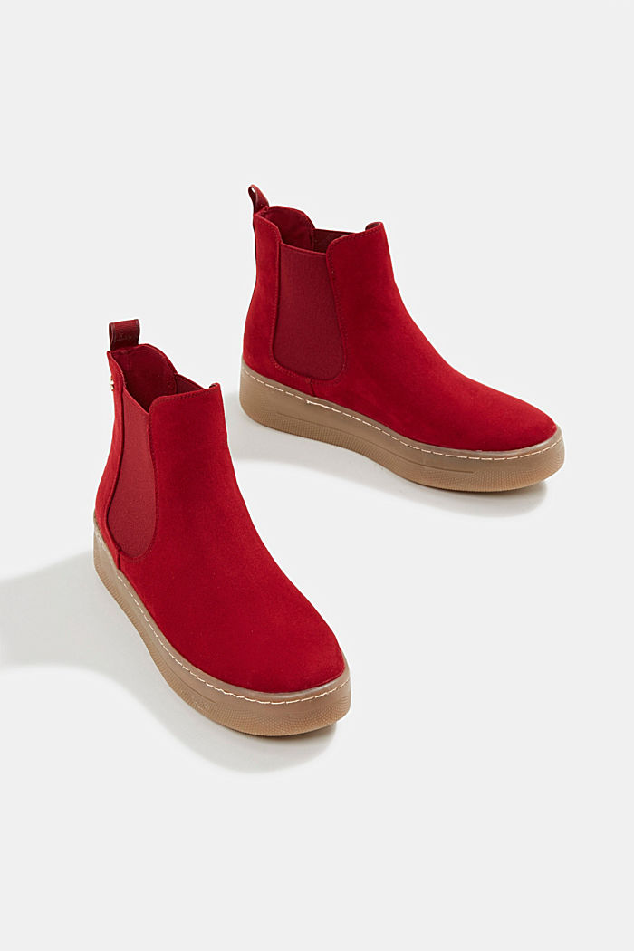 Chelsea boots in faux suede, RED, detail image number 5