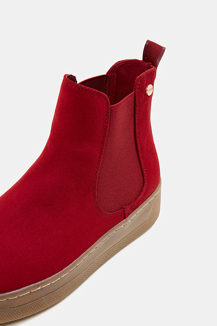 Chelsea boots in faux suede, RED, detail image number 4