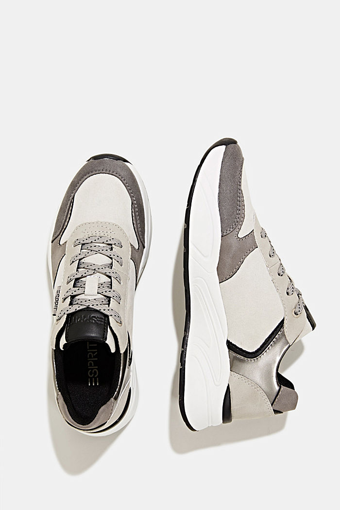 Faux leather fashion trainers, LIGHT GREY, detail image number 1