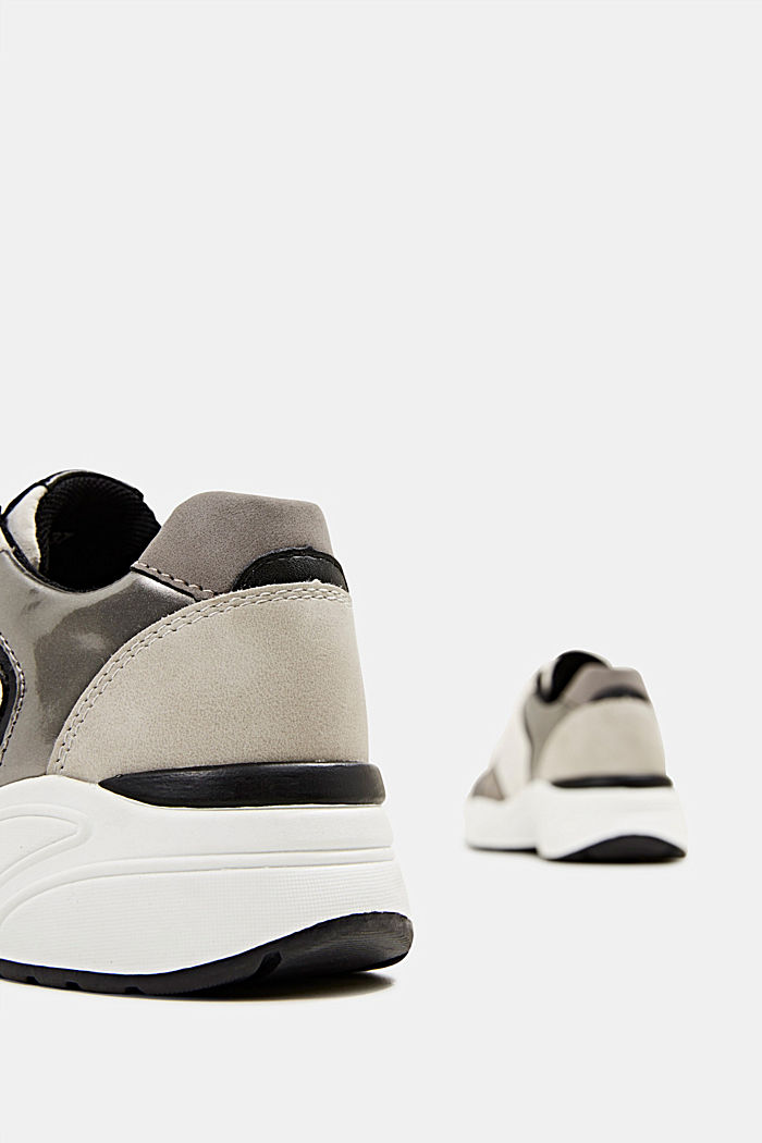 Faux leather fashion trainers, LIGHT GREY, detail image number 5