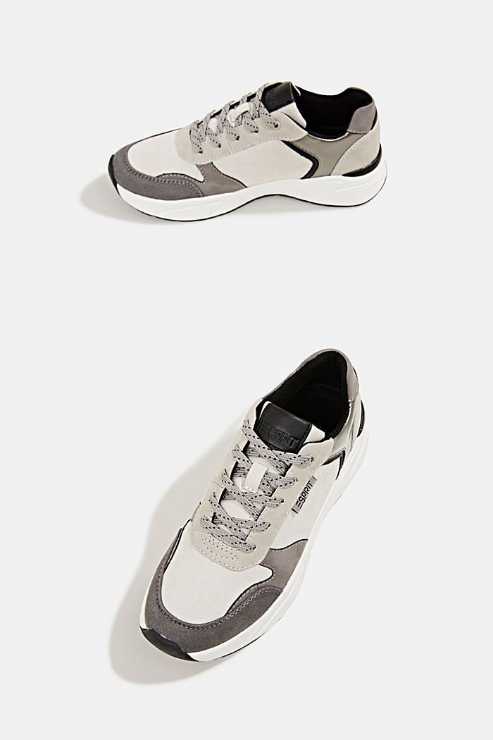Faux leather fashion trainers, LIGHT GREY, detail image number 6