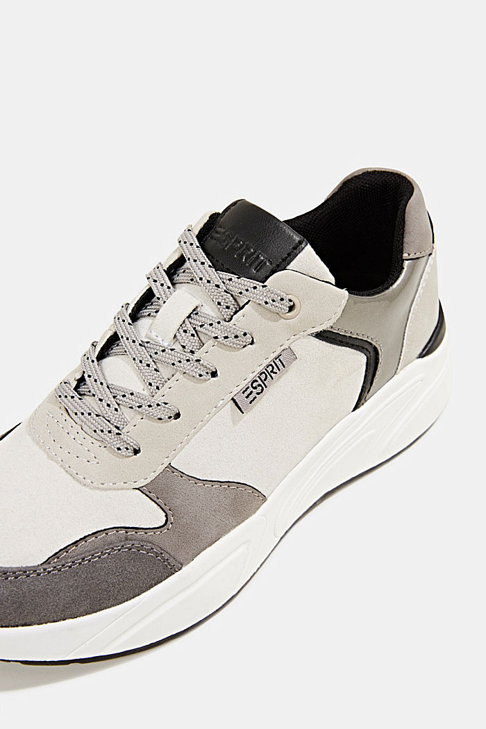 Faux leather fashion trainers, LIGHT GREY, detail image number 4