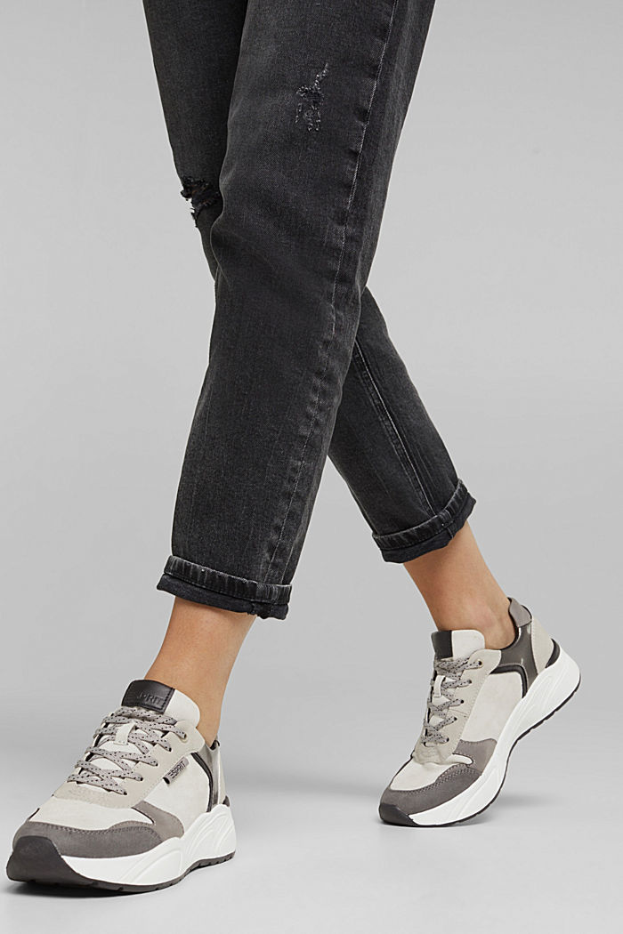 Faux leather fashion trainers