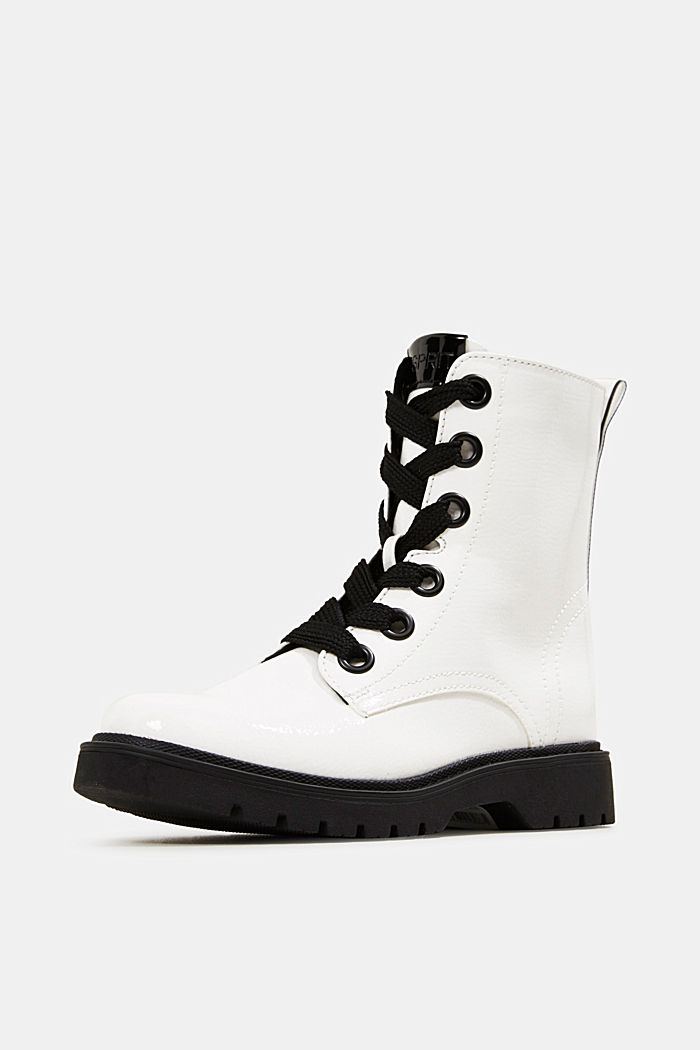 Worker boots in a patent leather look, WHITE, detail image number 2