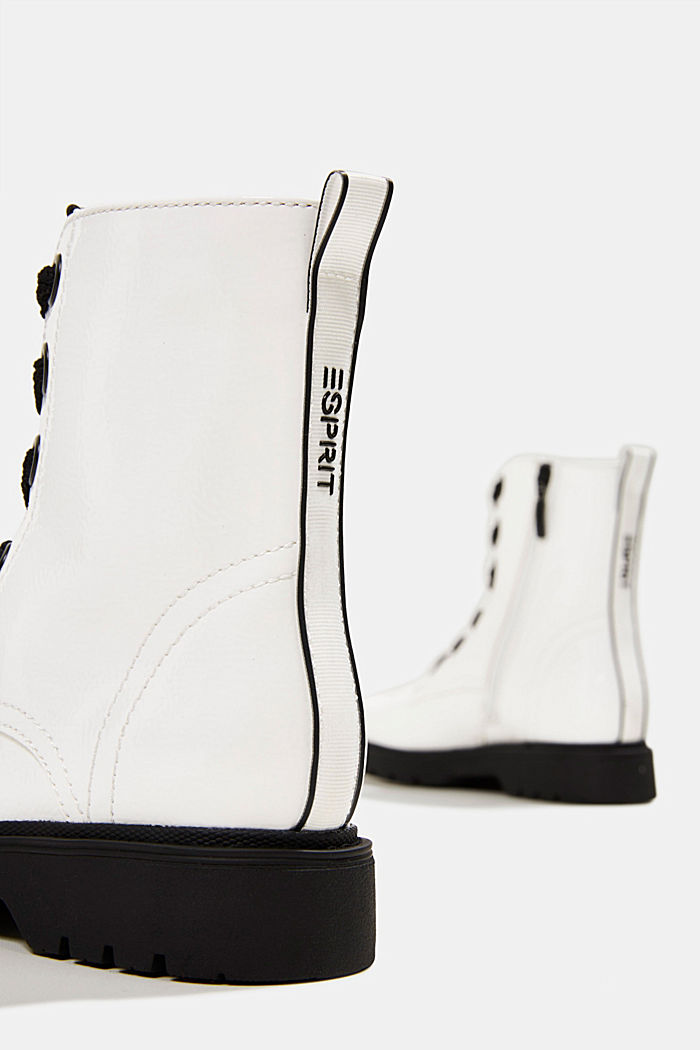 Worker boots in a patent leather look, WHITE, detail image number 5
