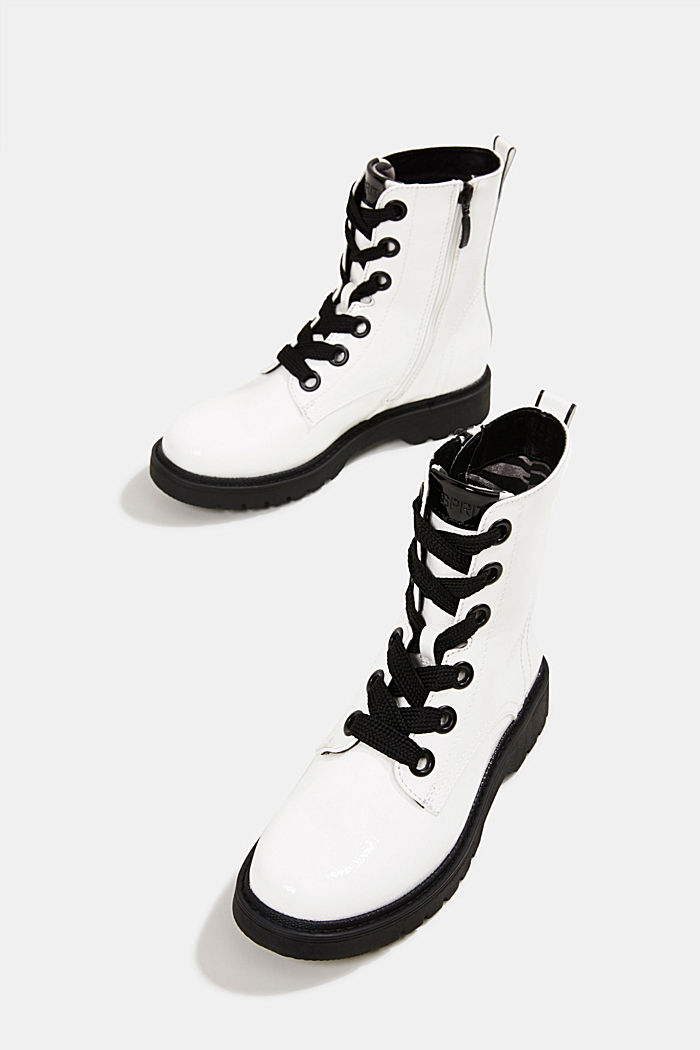 Worker boots in a patent leather look, WHITE, detail image number 6