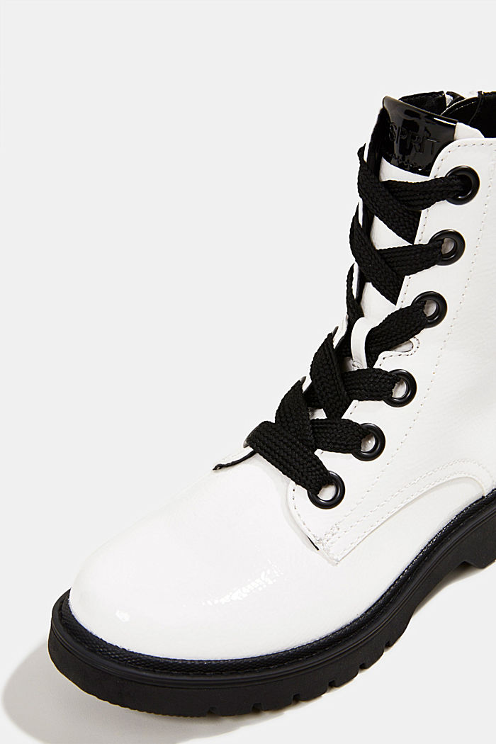 Worker boots in a patent leather look, WHITE, detail image number 4