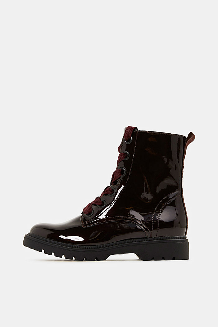 Worker Boots in Lackleder-Optik, BORDEAUX RED, overview