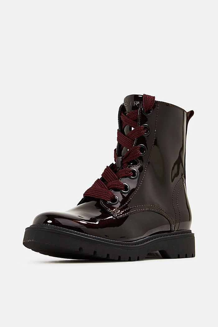 Worker Boots in Lackleder-Optik, BORDEAUX RED, detail image number 2