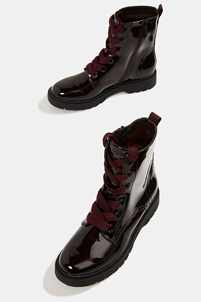 Worker Boots in Lackleder-Optik, BORDEAUX RED, detail image number 6
