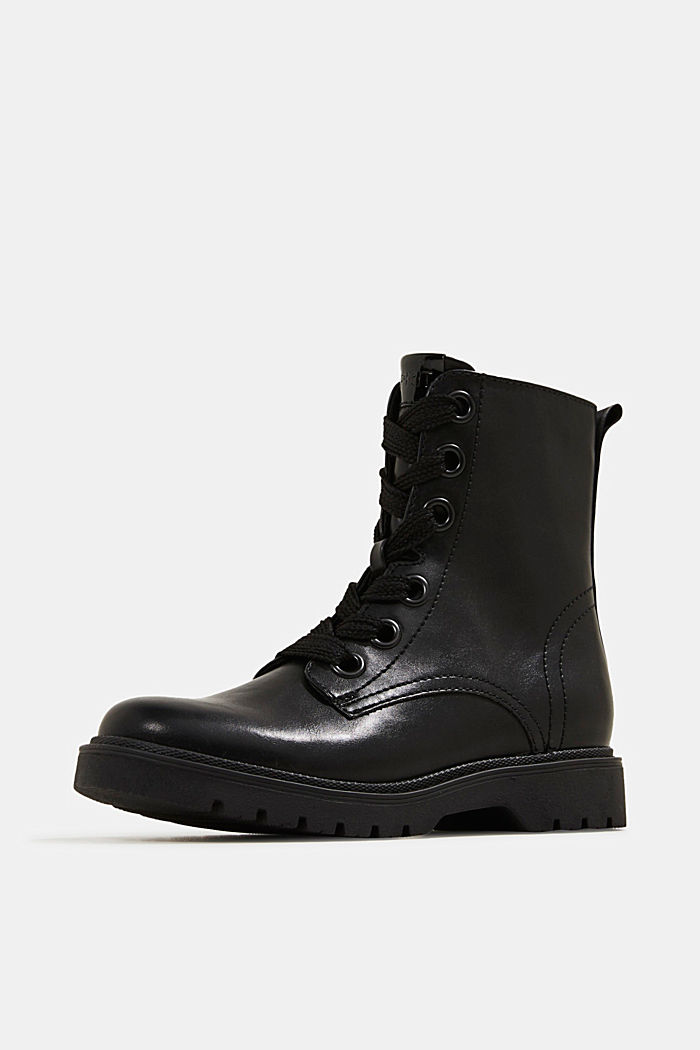 Faux leather worker boots, BLACK, detail image number 2