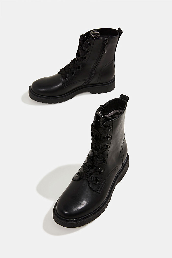 Faux leather worker boots, BLACK, detail image number 6