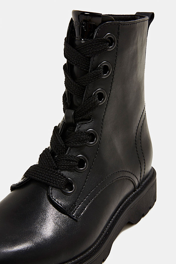 Faux leather worker boots, BLACK, detail image number 4