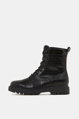 Lace-up boots in faux reptile leather, BLACK, detail