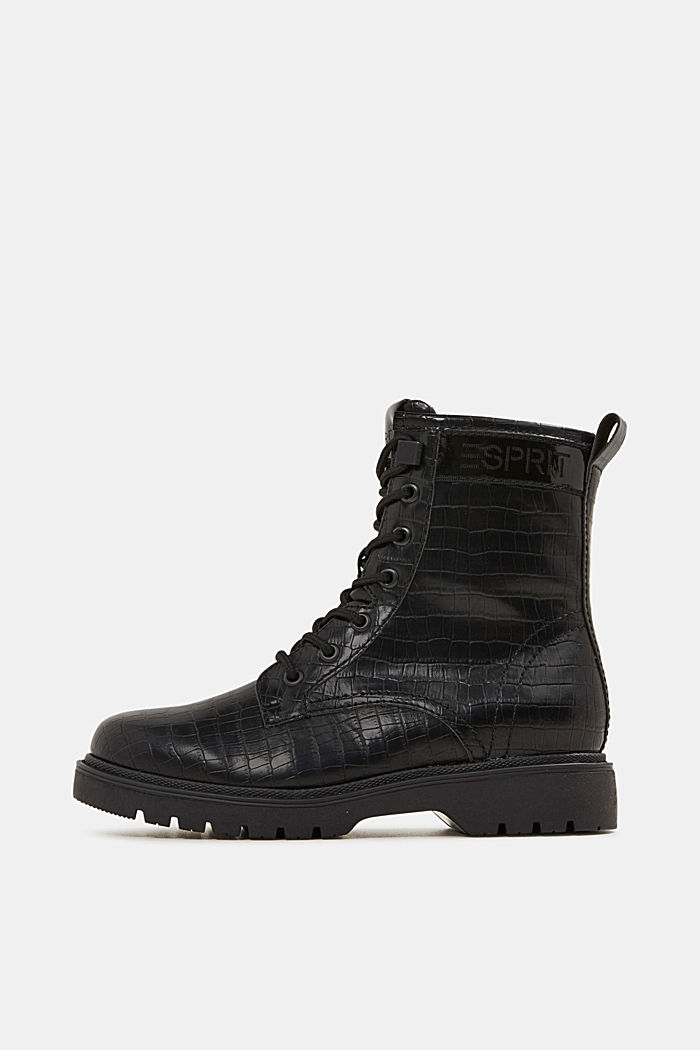 Lace-up boots in faux reptile leather, BLACK, detail image number 0