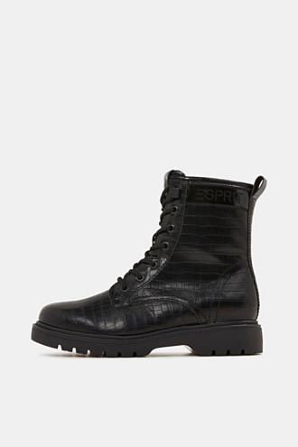 Lace-up boots in faux reptile leather
