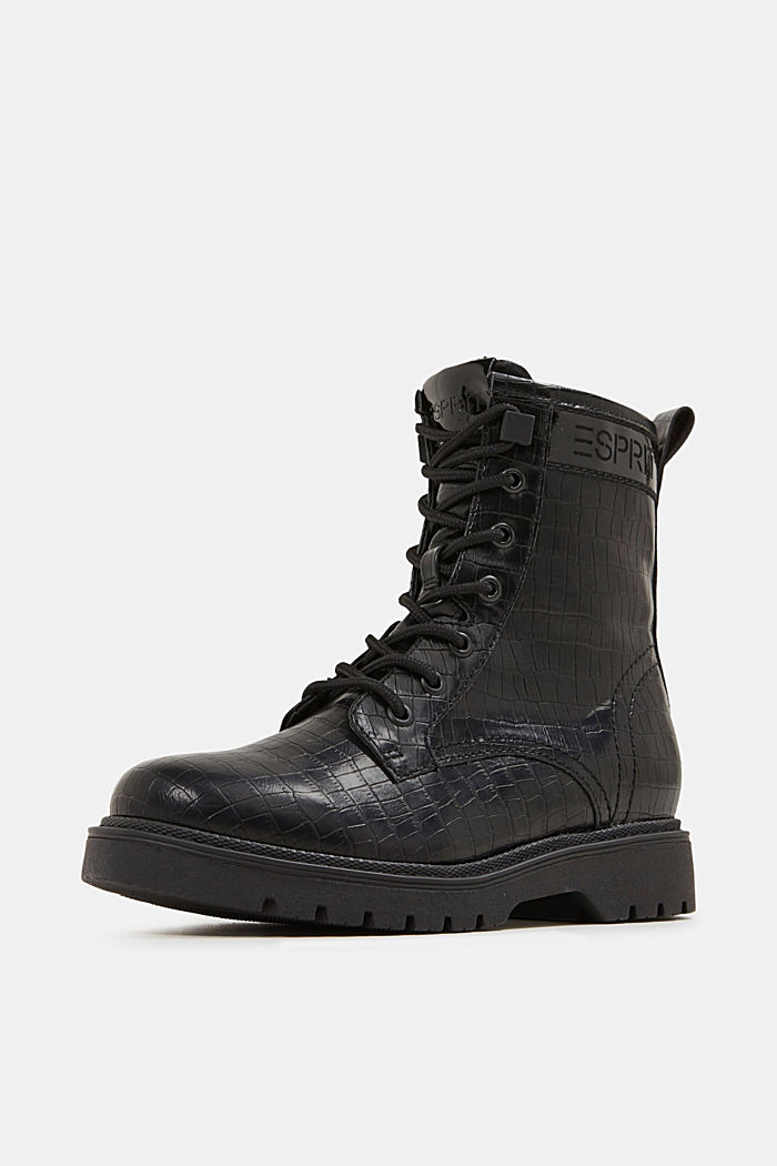 Lace-up boots in faux reptile leather, BLACK, detail image number 2