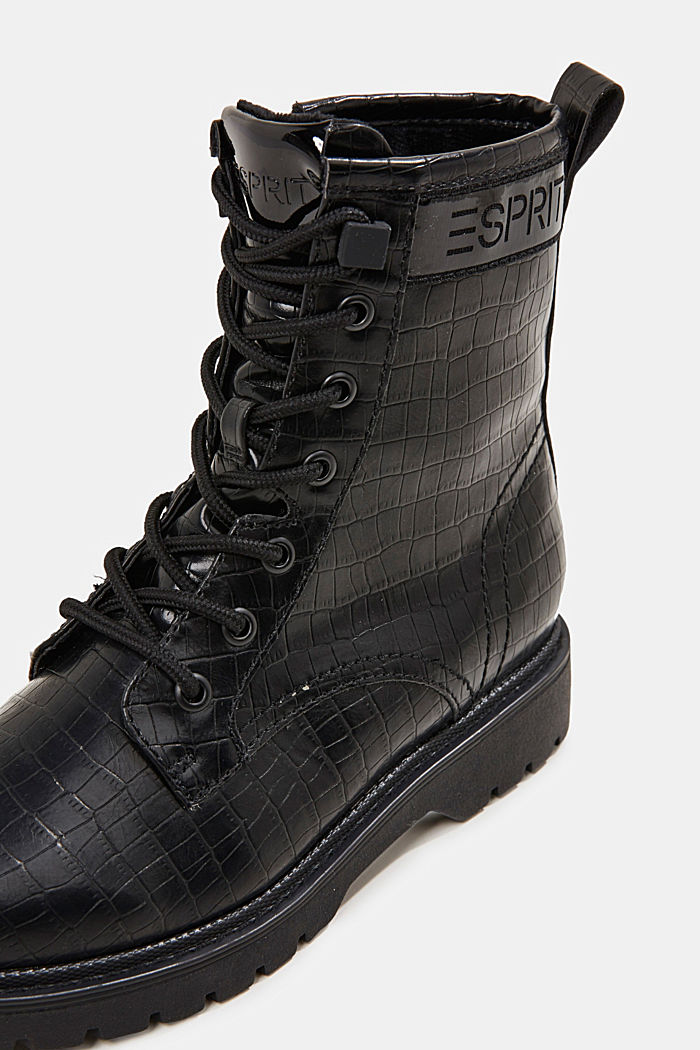 Lace-up boots in faux reptile leather, BLACK, detail image number 4