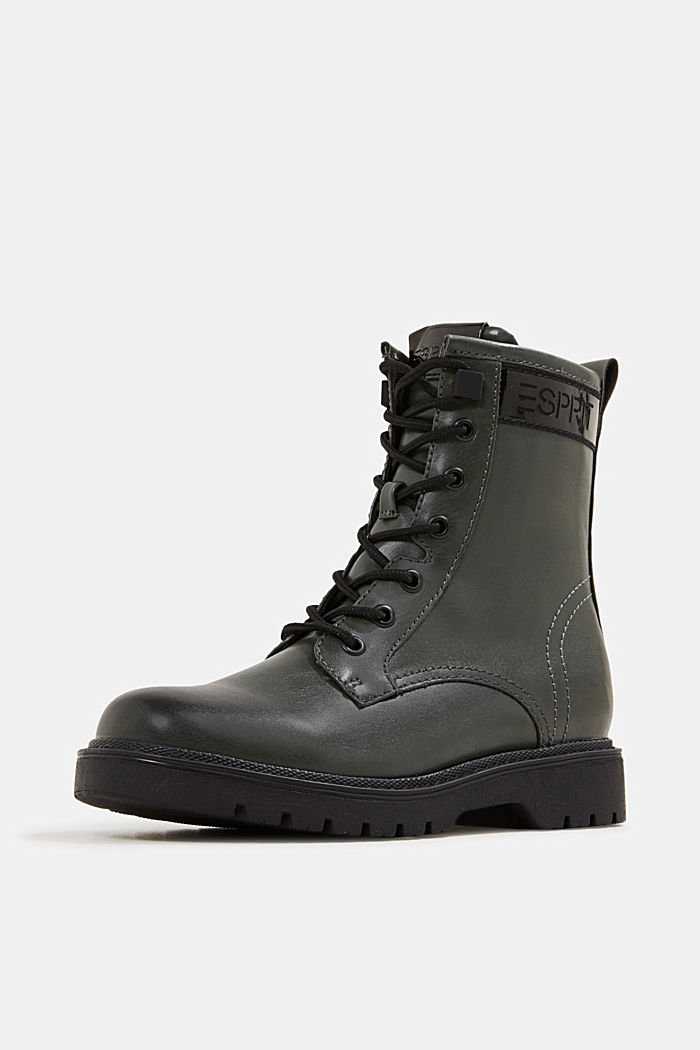 Faux leather lace-up boots, DARK GREEN, detail image number 2