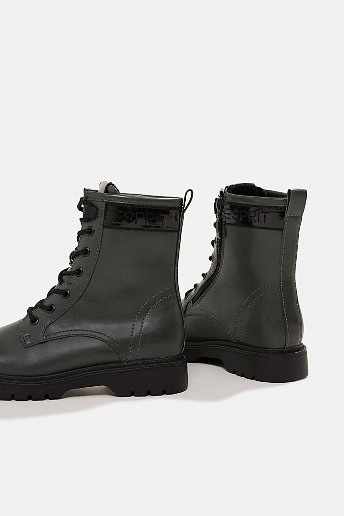 Faux leather lace-up boots, DARK GREEN, detail image number 5