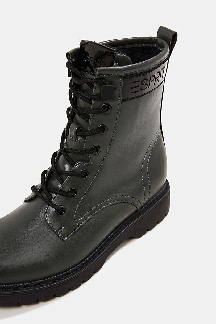 Faux leather lace-up boots, DARK GREEN, detail image number 4