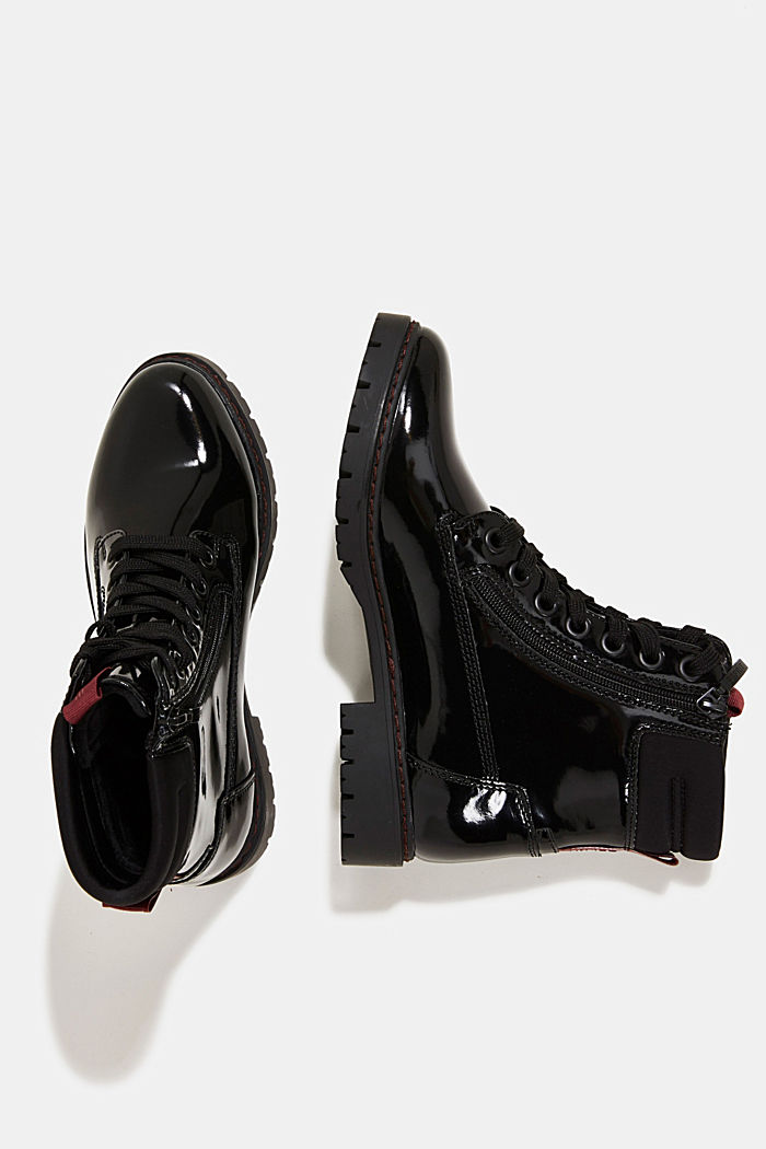 Patent lace-up boots, BLACK, detail image number 1