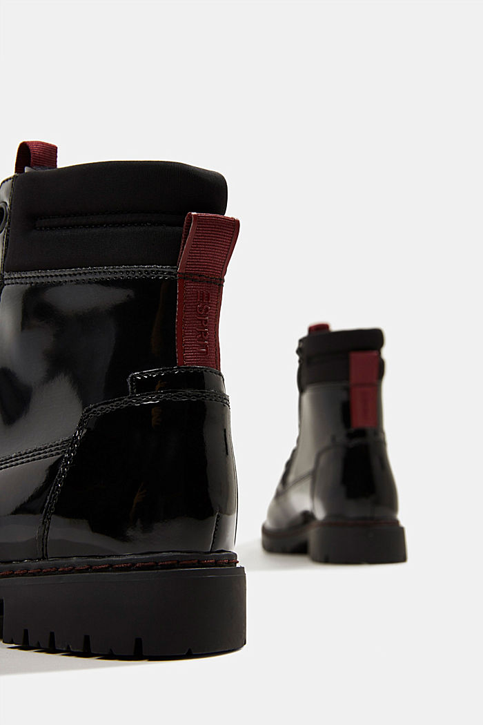 Patent lace-up boots, BLACK, detail image number 5