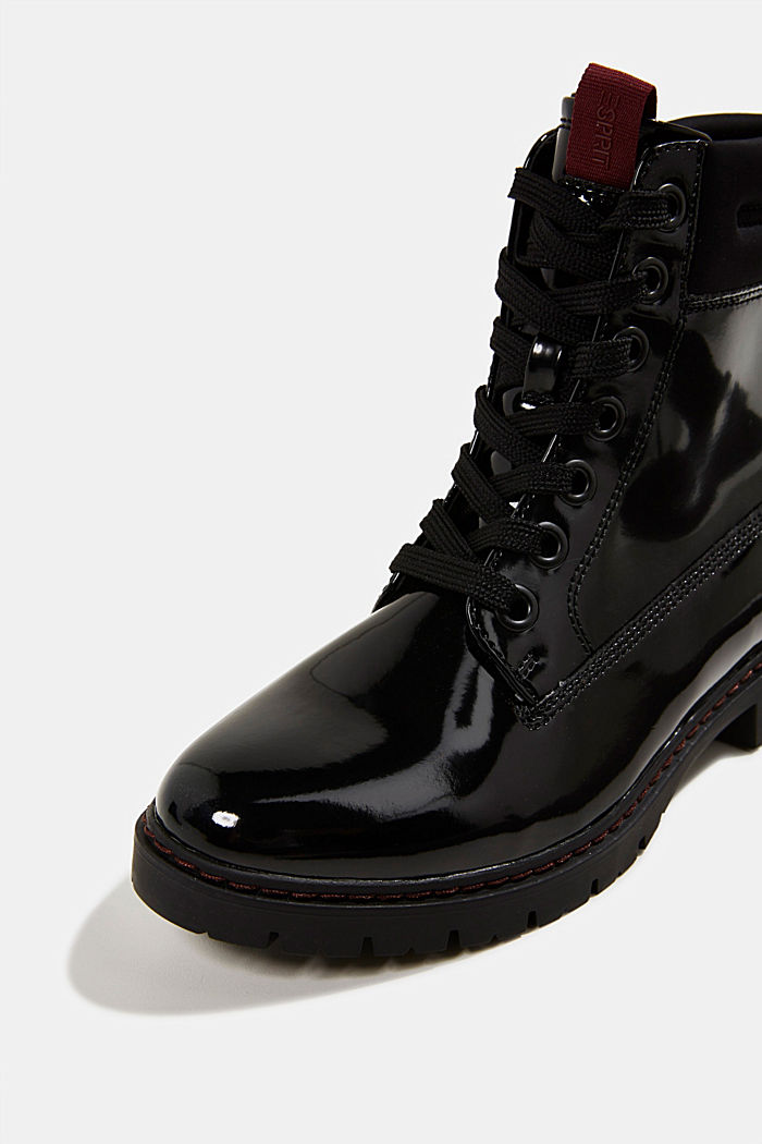 Patent lace-up boots, BLACK, detail image number 4
