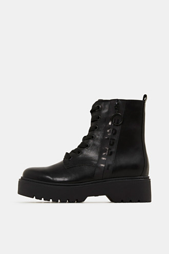 Faux leather worker boots