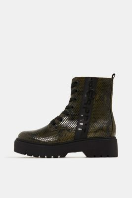 Boots in faux reptile leather, BOTTLE GREEN, detail