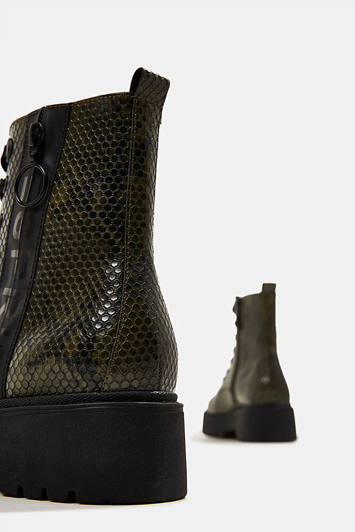 Boots in faux reptile leather, BOTTLE GREEN, detail image number 5