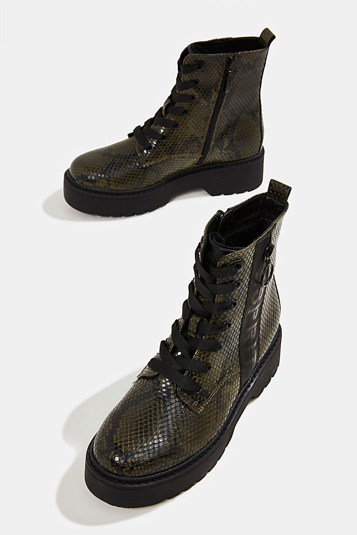 Boots in faux reptile leather, BOTTLE GREEN, detail image number 6