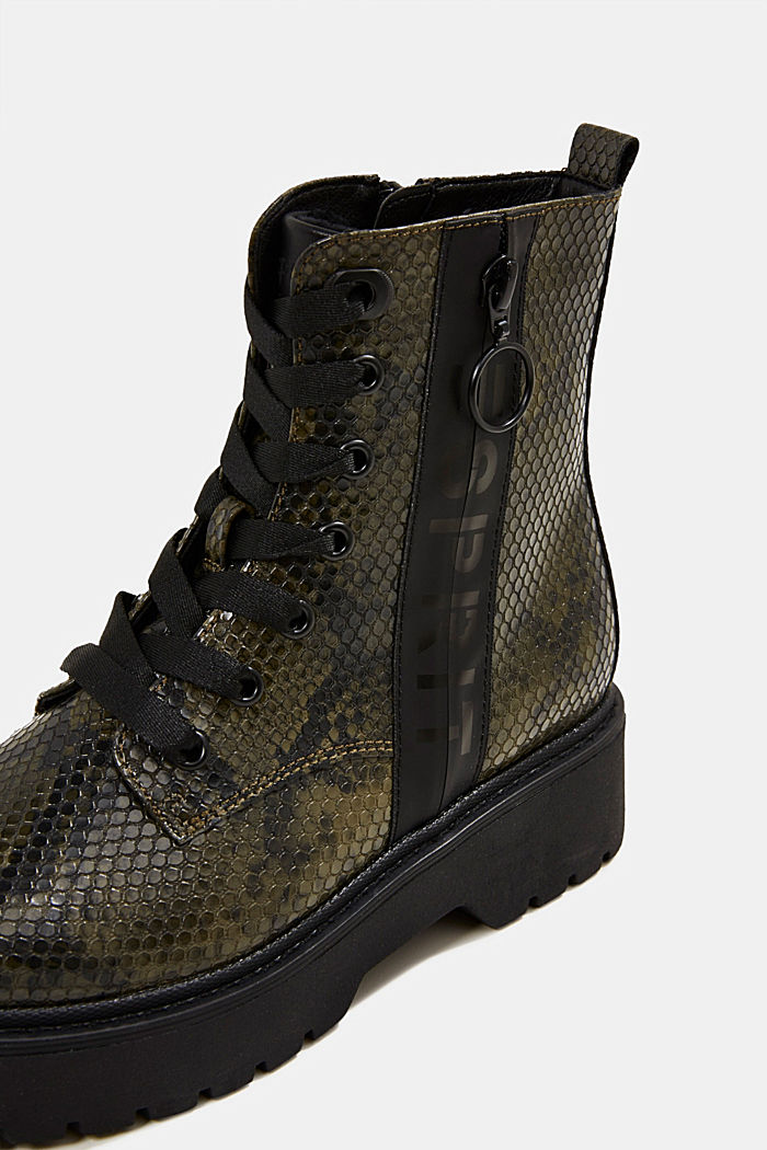 Boots in faux reptile leather, BOTTLE GREEN, detail image number 4