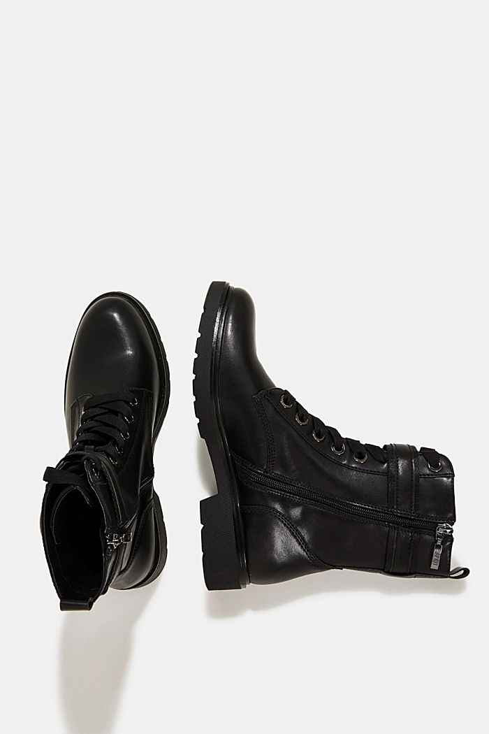 Faux leather worker boots, BLACK, detail image number 1