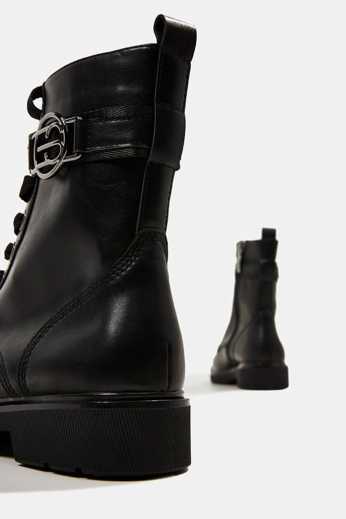 Faux leather worker boots, BLACK, detail image number 5