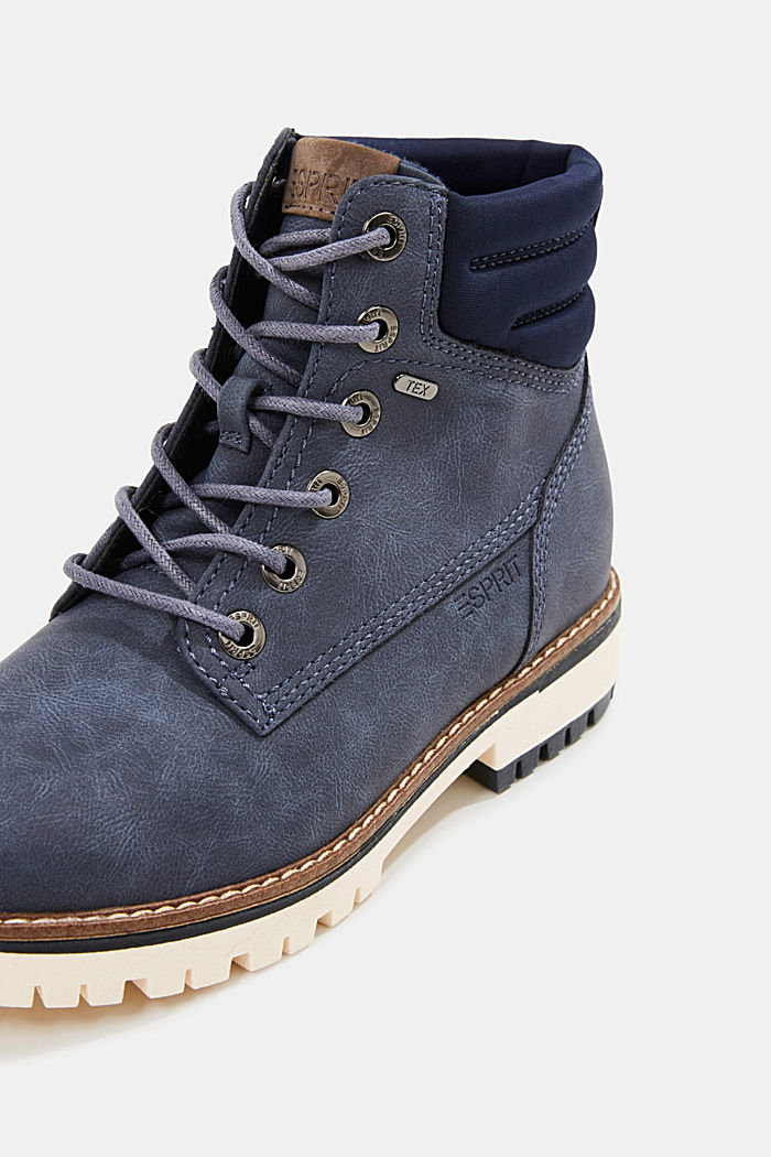 Lace-up boots with a TEX membrane, NAVY, detail image number 4