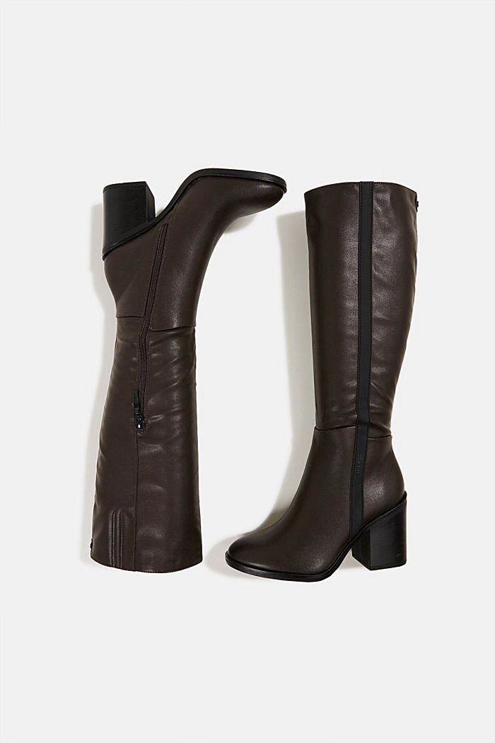 Faux leather boots, DARK BROWN, detail image number 1