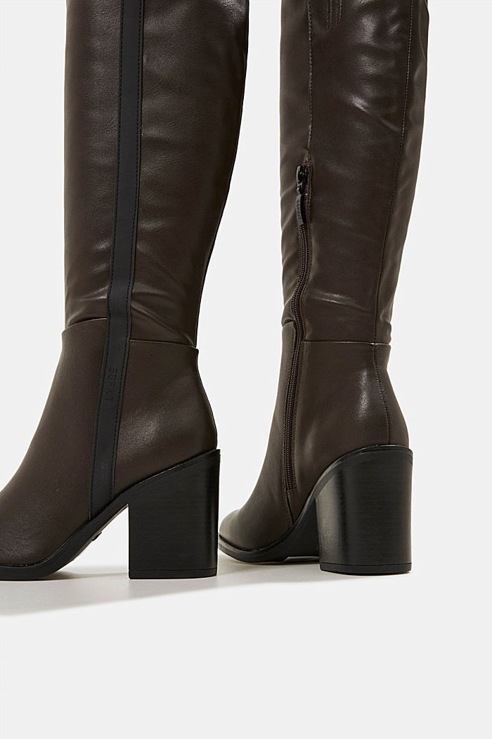 Faux leather boots, DARK BROWN, detail image number 5